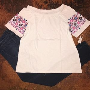 NWT Talbots White/Pink Embroidered Floral Tee -L